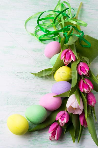 イースター アレンジメント 描いた 緑 リボン 卵 ストックフォト © TasiPas