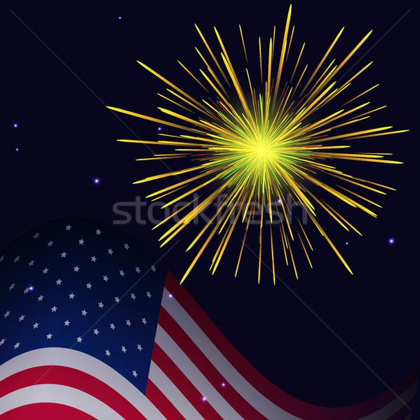 4th of July golden yellow fireworks  Stock photo © TasiPas
