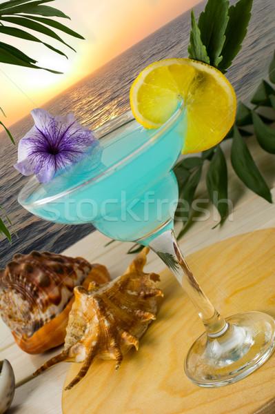 Kék koktél trópusi tenger naplemente martini Stock fotó © TasiPas