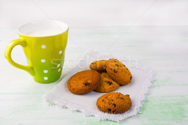 кружка молоко Cookies белый пластина Sweet Сток-фото © TasiPas