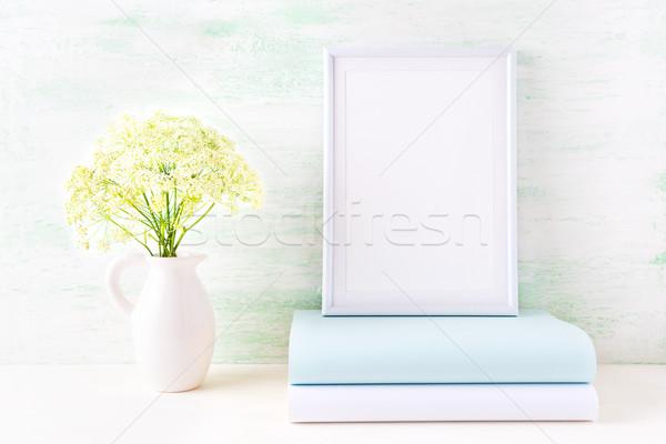 Biały ramki blady mięty książki Zdjęcia stock © TasiPas