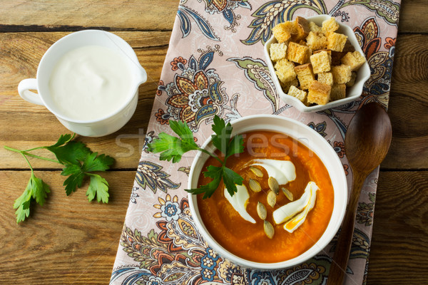 辛い カボチャ クリーム スープ スカッシュ ストックフォト © TasiPas