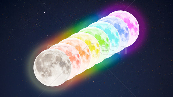Diagonal row of multicolored full moons on starry sky background Stock photo © TasiPas