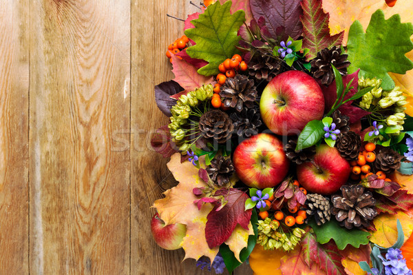 Fall greeting with apples, blue flowers and green leaves Stock photo © TasiPas