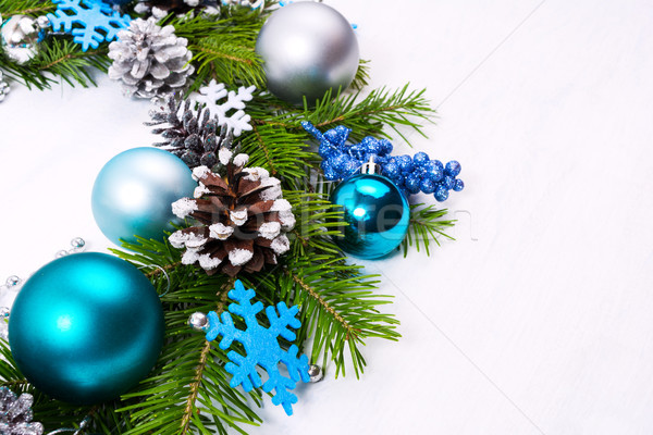 Natal coroa flocos de neve azul turquesa prata Foto stock © TasiPas