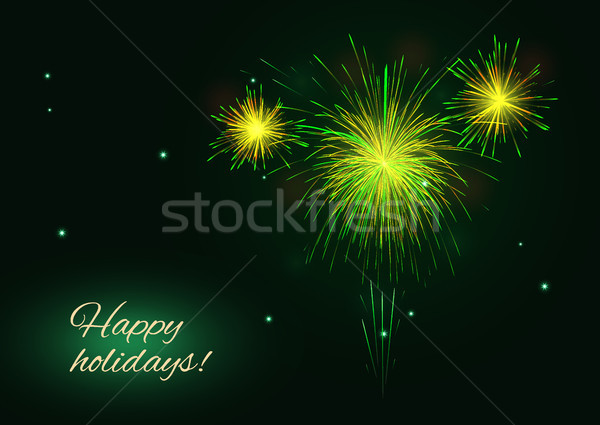 Yellow  green golden vector fireworks burst greeting, copy space Stock photo © TasiPas