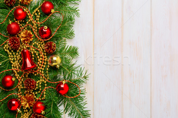 Christmas background with golden beads  decorated wreath Stock photo © TasiPas