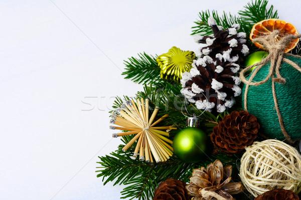 Karácsony üdvözlet szalmaszál csillagok fenyőfa rusztikus Stock fotó © TasiPas