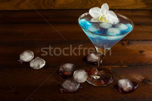 Kék koktél fehér orchidea kozmopolita martini Stock fotó © TasiPas