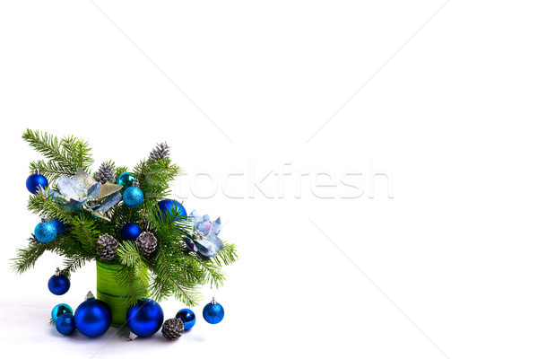 Navidad seda espacio de la copia mesa azul adornos Foto stock © TasiPas