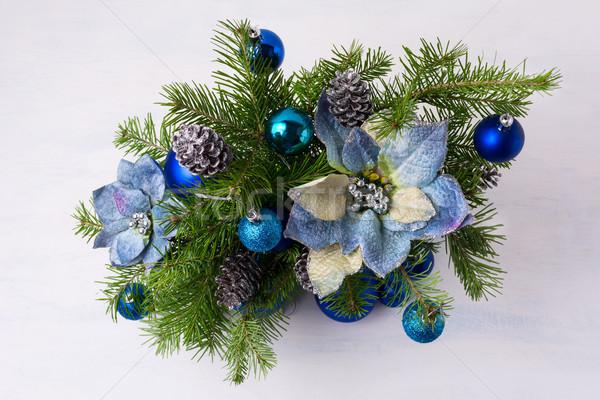 Karácsony csillámlás kék selyem asztal ezüst Stock fotó © TasiPas