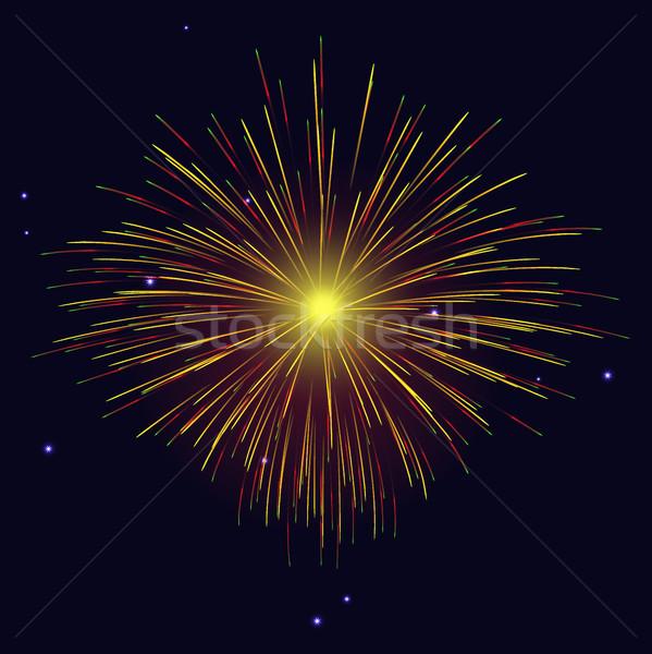 Vibrant sparkling vector golden, red fireworks  Stock photo © TasiPas