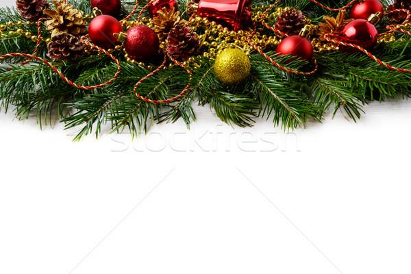 Christmas Rood ornamenten gouden ingericht pin Stockfoto © TasiPas