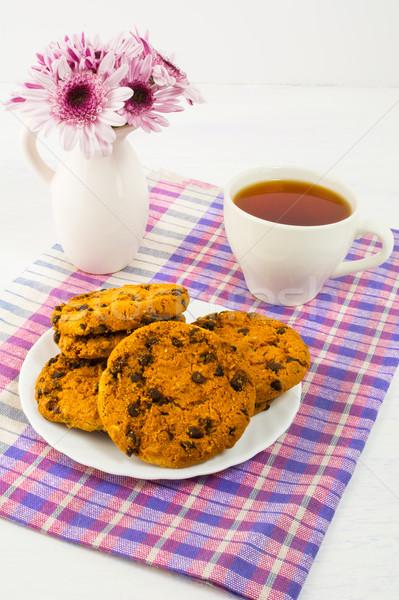 Breakfast tea served on checkered napkin Stock photo © TasiPas