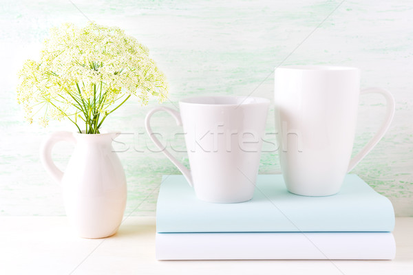 Two coffee cappuccino and latte white mugs mockup  Stock photo © TasiPas