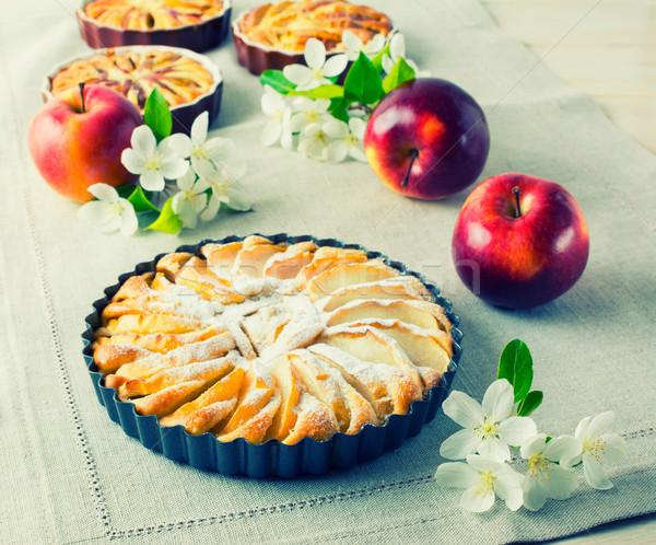 Apple pie with ripe fruits toned Stock photo © TasiPas