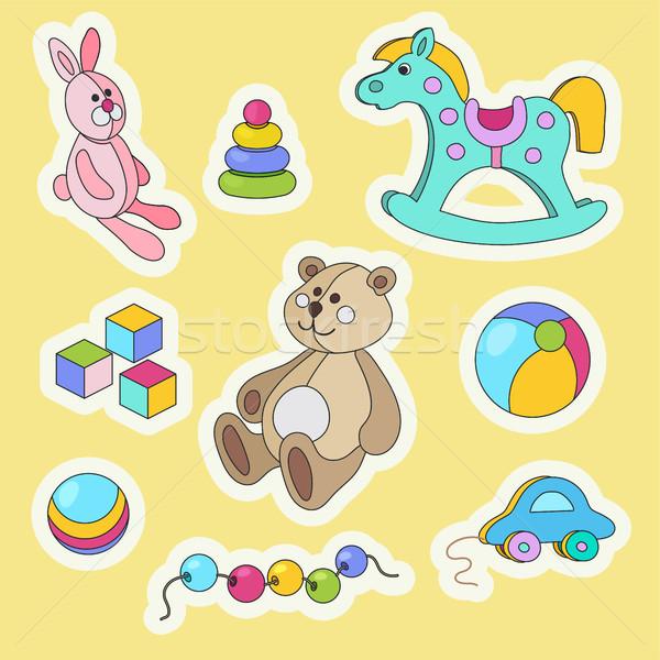 Ragazzi giocattoli cartoon colorato adesivo set Foto d'archivio © TasiPas