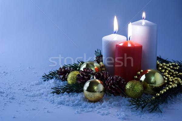 свечей снега белый красный Рождества Сток-фото © TasiPas