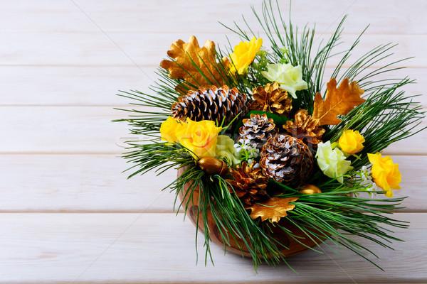 Рождества таблице украшение соснового Сток-фото © TasiPas