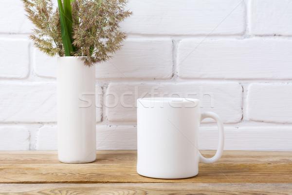 Stockfoto: Witte · koffiemok · gras · groene · bladeren · cilinder