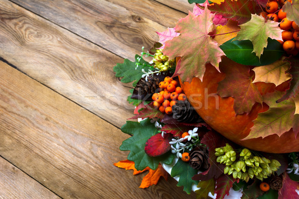 Fall background with vegetables, berries and leaves, copy space Stock photo © TasiPas