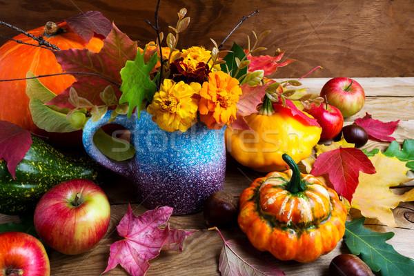 деревенский осень таблице листьев тесные Сток-фото © TasiPas