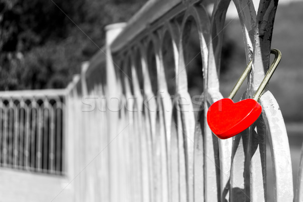 St. Valentine  Day or wedding background with red heart lock Stock photo © TasiPas