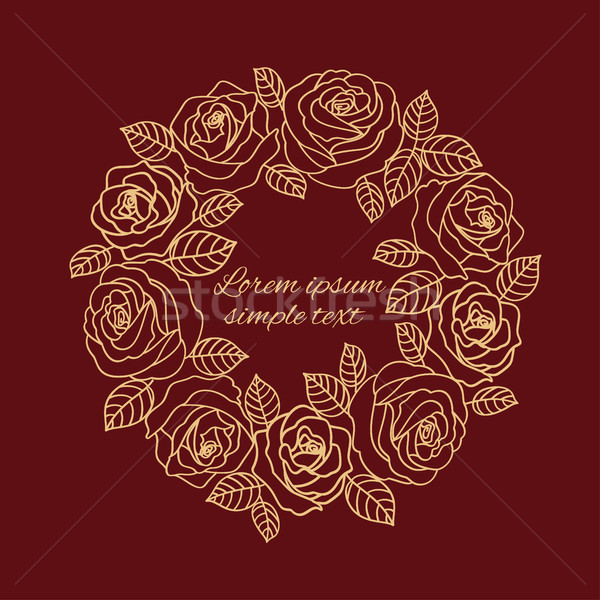Burgundy beige outline roses wreath wedding invitation Stock photo © TasiPas