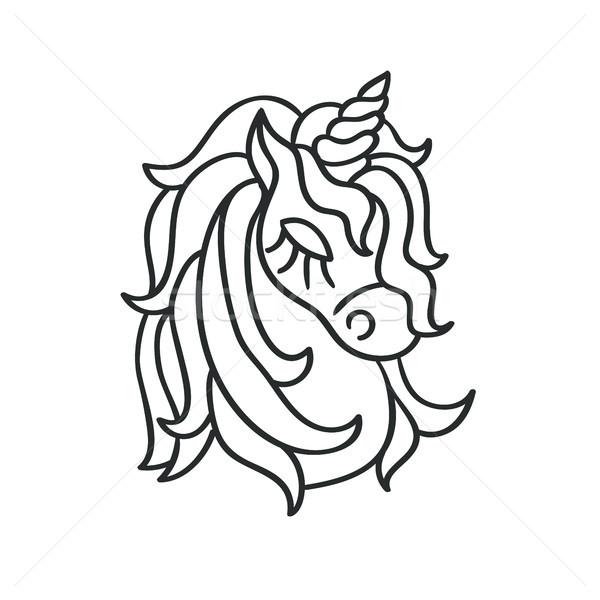 Unicorn head silhouette sketch icon Stock photo © TasiPas