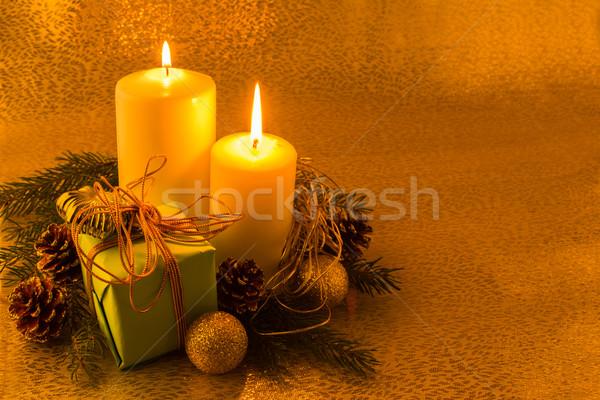 Foto stock: Ardente · branco · natal · velas · verde · caixa · de · presente