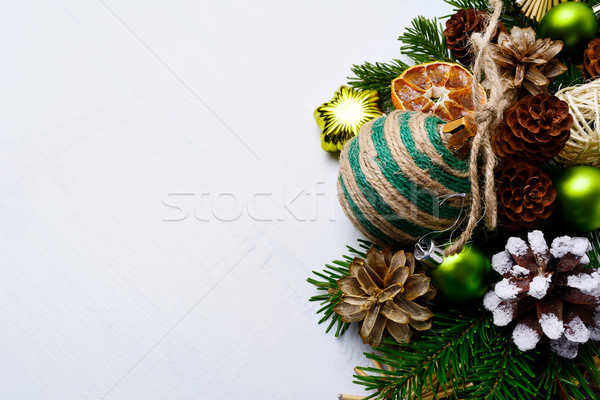 Christmas background  with handmade striped twine decorated orna Stock photo © TasiPas