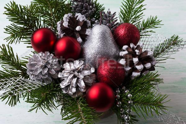 Сток-фото: Рождества · красный · серебро · блеск · груши · украшенный