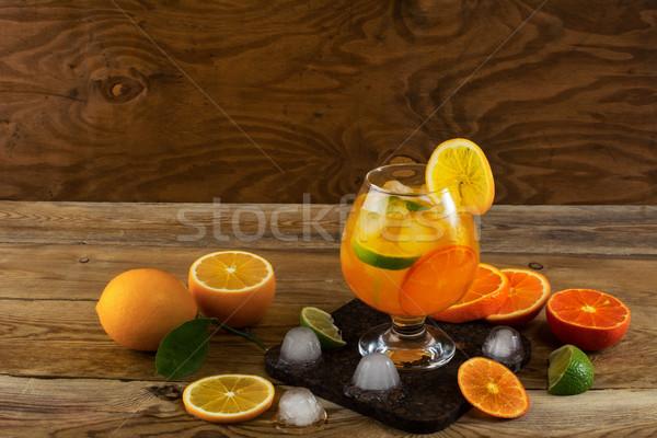 фрукты коктейль деревянный стол копия пространства пить лет Сток-фото © TasiPas