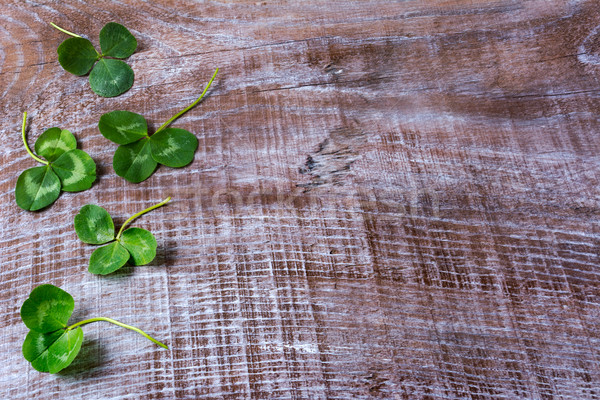 St. Patricks day greeting with clovers leaves frame on wooden ba Stock photo © TasiPas