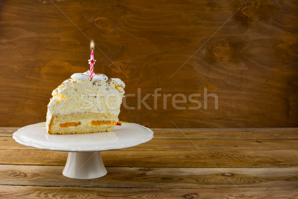 Birthday cake with burning candles, copy space Stock photo © TasiPas