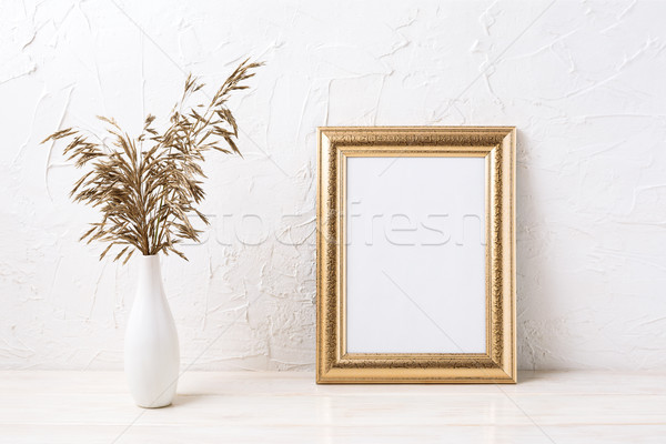 Photo stock: Or · cadre · séché · herbe · décoratif