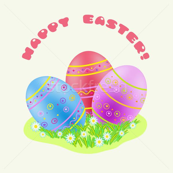 Húsvét kék piros lila színes tojás zöld fű Stock fotó © TasiPas