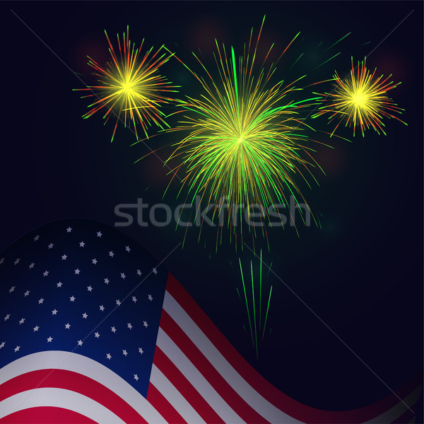 United States flag and celebration 4th of July golden green fire Stock photo © TasiPas