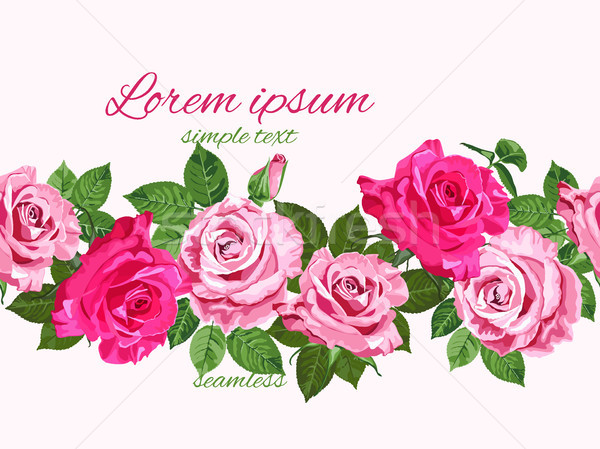 Stock photo: Bright pink roses seamless floral design