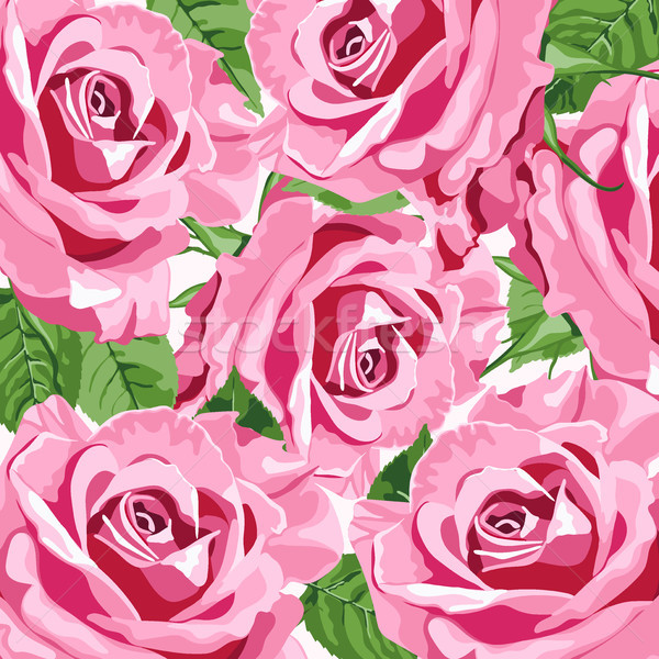 Bright pink roses vector background  Stock photo © TasiPas