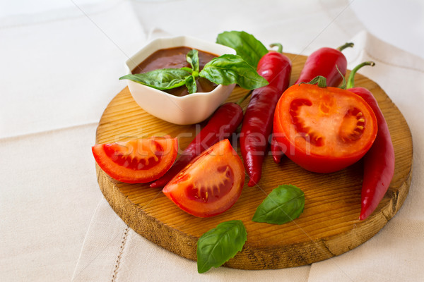 пряный томатном соусе овощей помидоров базилик Chili Сток-фото © TasiPas