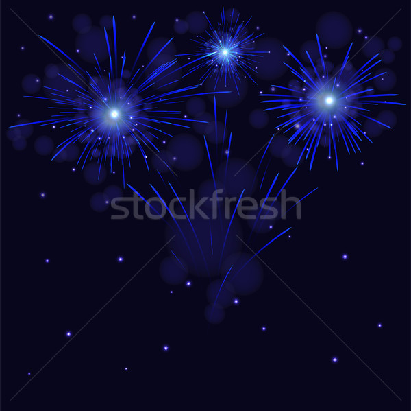 Celebration blue vector fireworks over night sky Stock photo © TasiPas