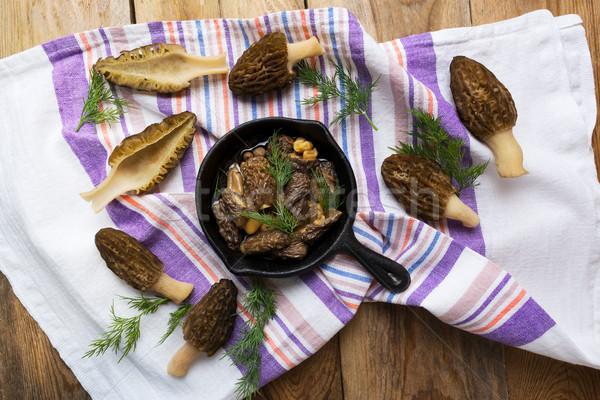 Preto cogumelos delicioso rústico mesa de madeira topo Foto stock © TasiPas