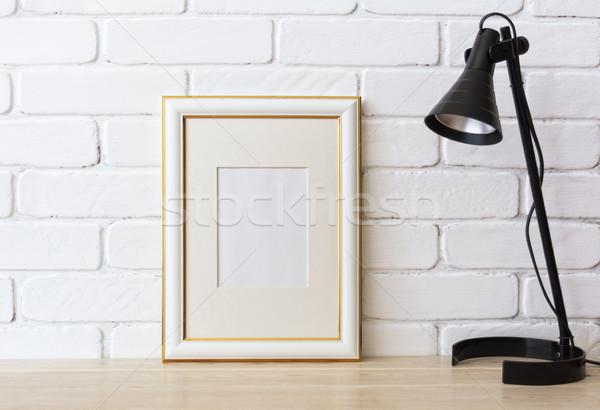 Arany díszített keret vázlat fekete lámpa Stock fotó © TasiPas