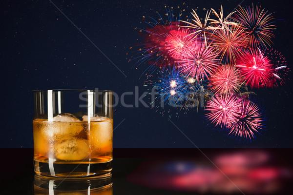 виски празднования красочный фейерверк удивительный ночное небо Сток-фото © TasiPas