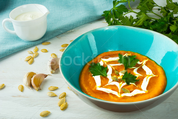 Pumpkin creamy vegetable soup  Stock photo © TasiPas