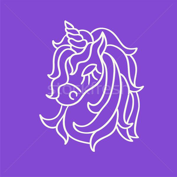 Unicorn head white outline sketch icon on the purple Stock photo © TasiPas