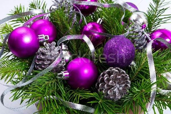 Karácsony növényzet ezüst csillámlás lila dísz Stock fotó © TasiPas
