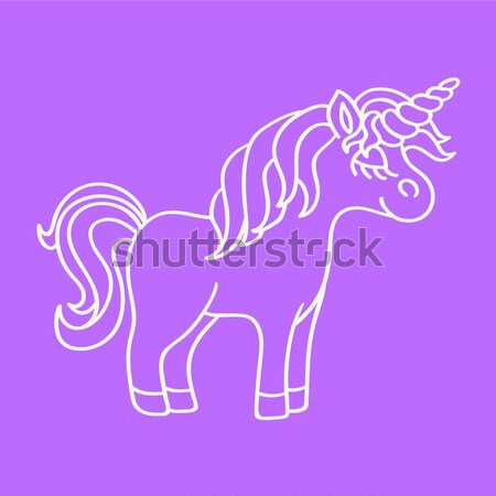 Purple unicorn with yellow horn icon  Stock photo © TasiPas