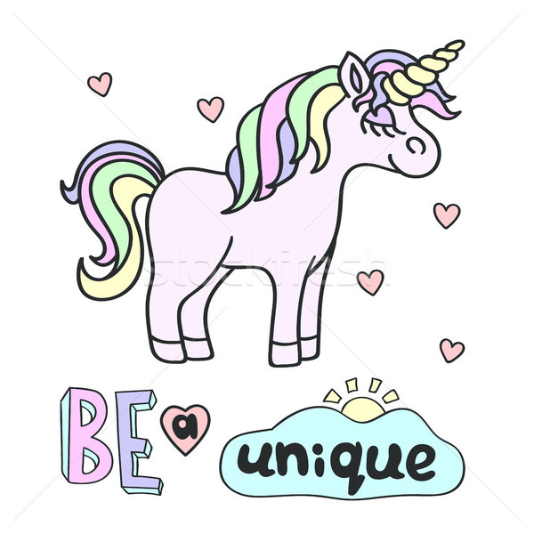 Pink unicorn with Be a unique lettering on the white background Stock photo © TasiPas